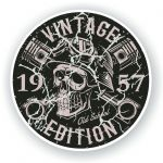 Distressed Aged Vintage Edition Year Dated 1957 Biker Skull Roundel Vinyl Car Sticker Decal 87x87mm